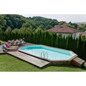 piscine bois sasha ubbink allonge en kit 490x355xh130 cm liner bleu ubbink - Piscine Bois Rectangulaire Enterree