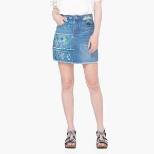 Krótka spódnica z denimu, wzór geometryczny DESIGUAL