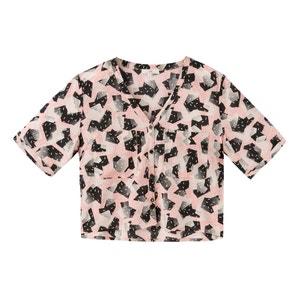 Bedruckte Bluse mit V-Ausschnitt, kurze Ärmel LEE