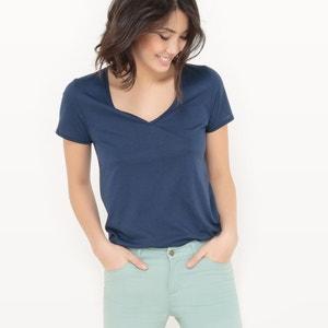 T-shirt col V, coton/modal R essentiel