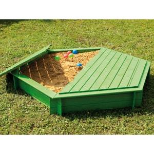 Bac à sable hexagonal en pin avec couvercle JARDIPOLYS