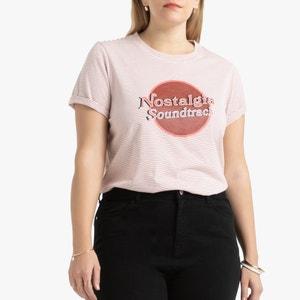 T-shirt met ronde hals, gestreept en bedrukt