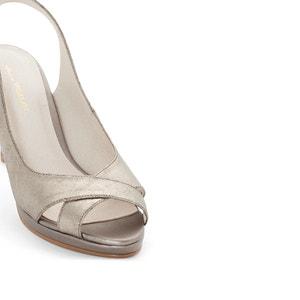 Metallic Leather Peep Toe Heels ANNE WEYBURN