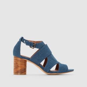 Sandalen in denim met ronde hak La Redoute Collections