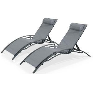 Duo 2 bains de soleil en Aluminium et textilène lounge Louisa transat Anthracite ALICE S GARDEN
