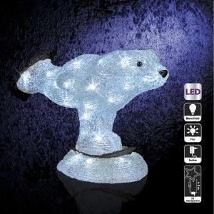 Décoration de Noël d'extérieur Lumineuse - H. 28 cm - Ours patineur ATMOSPHERA