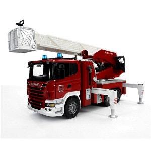 Camion de pompier Scania R-serie avec échelle et pompe à eau BRUDER