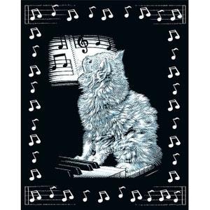 Kit carte à gratter Scraper argenté avec bordures : Chat musicien OZ INTERNATIONAL