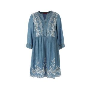 Vestido de mangas 3/4 de denim bordado RENE DERHY