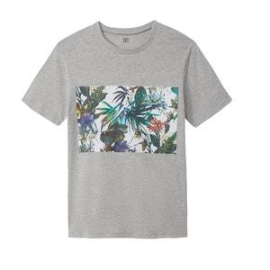 Camiseta con cuello redondo y motivo estampado Slub La Redoute Collections