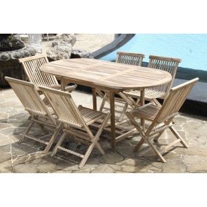 Salon de jardin en bois de teck brut 6 pers - Table 120/170x80 + 6 chaises BOIS DESSUS BOIS DESSOUS
