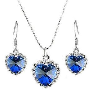 Parure Collier (Chaîne + Pendentif) Boucles d'oreilles Coeur SWAROVSKI® CRYSTALS - Bleu SO CHIC BIJOUX