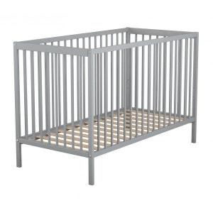 Lit bébé en bois laqué gris Baby Fox à barreaux  3 hauteurs 60 x 120 cm BABY FOX