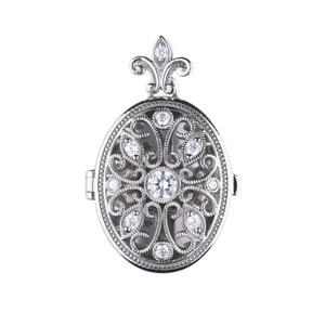 Silver Oval Pendant with White Diamonfire Zirconia