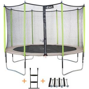 Trampoline de jardin 365 cm + filet de sécurité + échelle + kit d'ancrage JUMPI ZEN 360 KANGUI