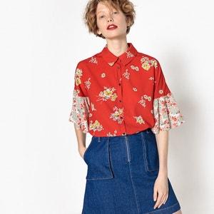 Camisa com folhos nas mangas, jogo de estampados às flores MADEMOISELLE R