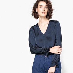 Blusa com decote em V, punho para atar La Redoute Collections