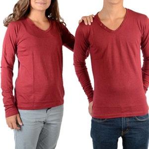 Tee Shirt Basic V LS Mixte (Garçon / Fille) Rouge LITTLE ELEVENPARIS