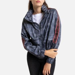 Agnes Zip-Up High-Neck Jacket with Logo Print