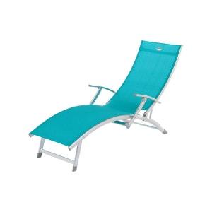 Transat / Chaise longue 4 positions Ibiza - Aluminium - Bleu lagon COTE DETENTE