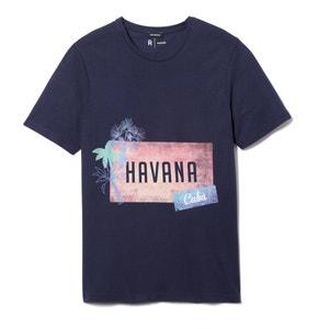 T-shirt estampada, gola redonda, puro algodão R essentiel