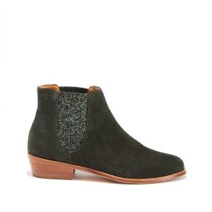 Boots cuir et paillettes BOBBIES