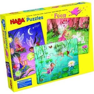 Puzzles 12 à 18 pièces : 3 puzzles Fées et elfes HABA