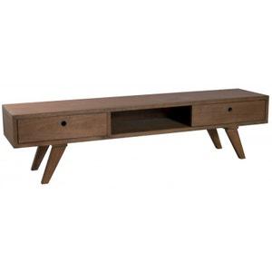 Meuble TV vintage bois couleur cannelle 1 tiroir 1 porte coulissante 180X40X46cm FANNY PIER IMPORT