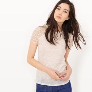 T-shirt romântica em renda e linho MADEMOISELLE R