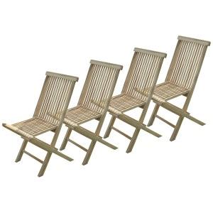 C&L JARDIN Lot de 4 chaises pliantes Jalang en teck brut C ET L JARDIN