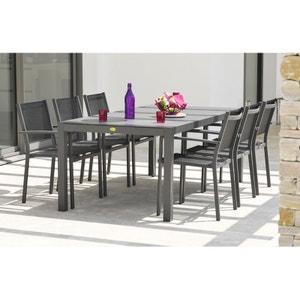 Ensemble table aluminium et duranite noir et 6 fauteuils assortis LE REVE CHEZ VOUS