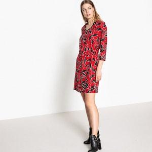 Bedrukte korte jurk met 3/4 mouwen SUNCOO
