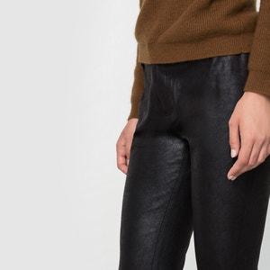 Slim Fit Satin Trousers with a Peach Skin Feel SEE U SOON