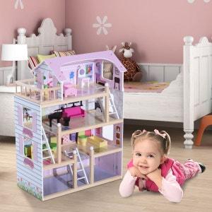 Maison de poupée en bois jeu d'imitation grand réalisme multi-équipement 60L x 30l x 80H cm blanc et rose - HOMCOM HOMCOM