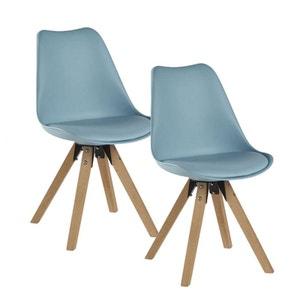 Lot de 2 chaises esprit Scandinave assise PU bleu et pieds bois 48x83x56cm TONY PIER IMPORT