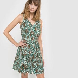 Ärmelloses Kleid, weich fallend, Blätterdruck, V-Ausschnitt, Detail hinten R studio