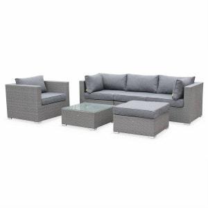 Salon de jardin table en résine tressée grise 5 places Caligari canapé fauteuil ALICE S GARDEN