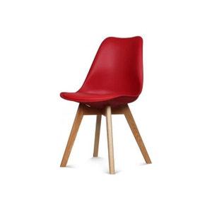 Chaise Design Style Scandinave Rouge ESBEN DECLIKDECO