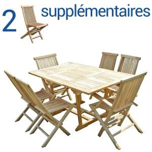 Ensemble salon de jardin en teck SERANG 4+2 chaises 2 fauteuils - Bundle chaises C ET L JARDIN