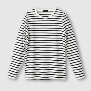 T-shirt manches longues col rond rayé 100% coton R essentiel
