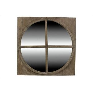 MIROIR ANCIEN ROND BOIS 79.5x79.5x3.5cm DECORATION D'AUTREFOIS