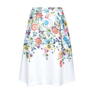 Falda larga por la rodilla con estampado de flores YUMI