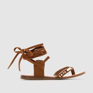 Sandalias planas Galtano, tira entre los dedos y cordón en el tobillo, piel LES TROPEZIENNES PAR M.BELARBI