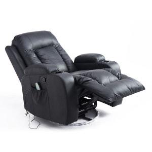 Fauteuil de massage et relaxation électrique chauffant inclinable repose-pied télécommande noir - HOMCOM HOMCOM