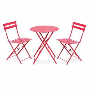 Salon de jardin bistrot pliable Emilia rond rouge, table Ø60cm avec 2 chaises pliantes, acier thermolaqué ALICE S GARDEN