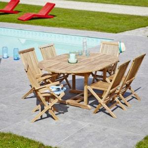Salon de jardin en bois de TECK BRUT QUALITE PREMIUM 6/8 pers - Table ovale 120/170cm - 4 chaises + 2 fauteuils BOIS DESSUS BOIS DESSOUS