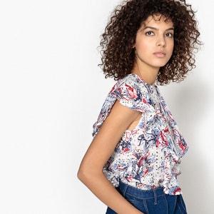 Blusa LENI con bordado y estampado, 100% algodón SUNCOO