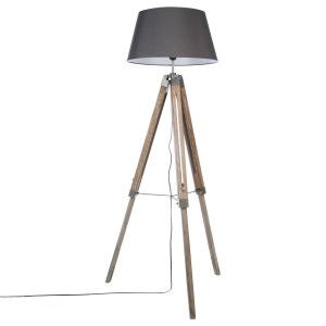Lampadaire trépied bois - Hauteur 145 cm - Gris ATMOSPHERA