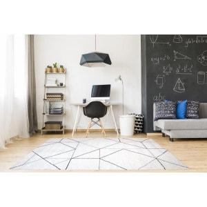 Tapis blanc de salon doux géométrique Grindi ALLOTAPIS
