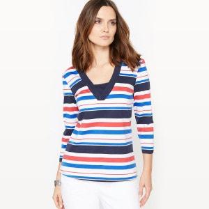 T-shirt pur coton, rayé tissé teint ANNE WEYBURN